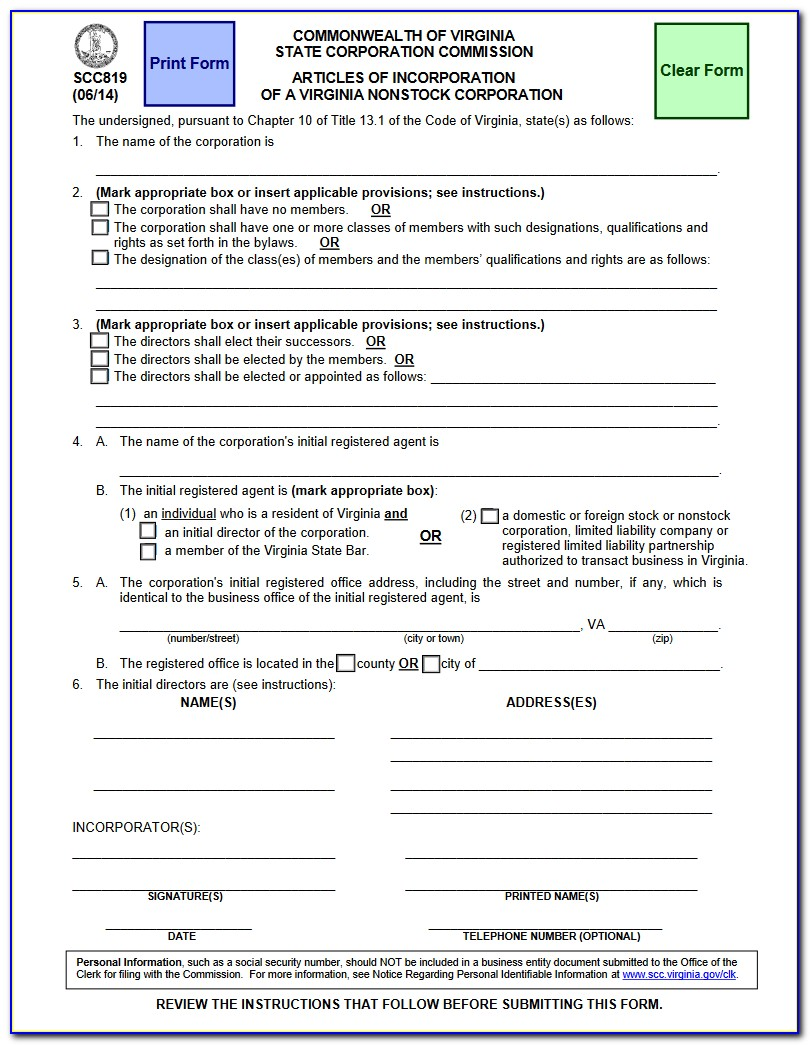 Commonwealth Of Virginia State Corporation Commission Form