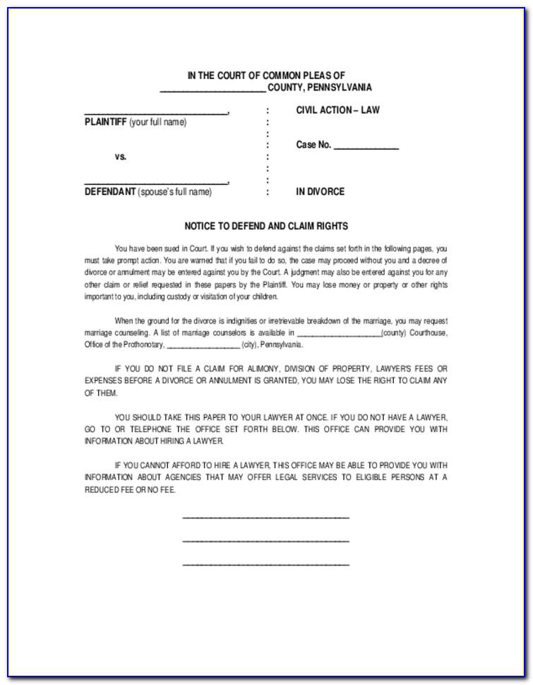 Complaint For Divorce Form Pa