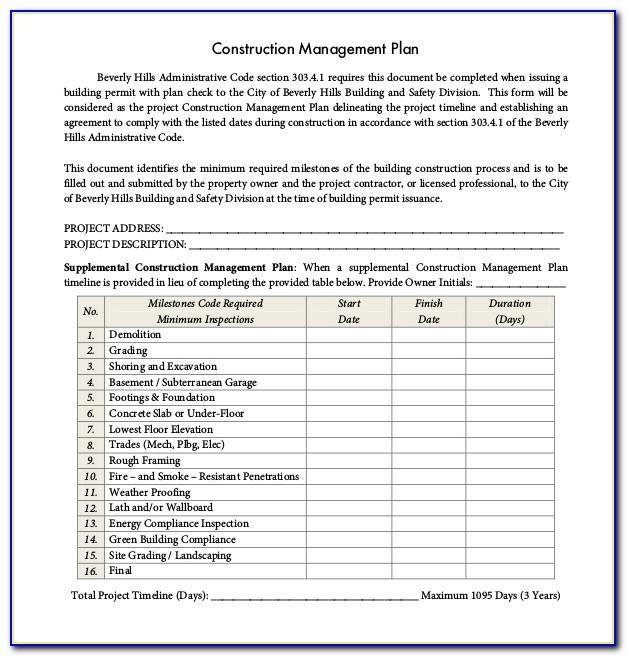 Construction Project Management Checklist Template