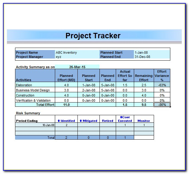 Construction Project Management Sheets