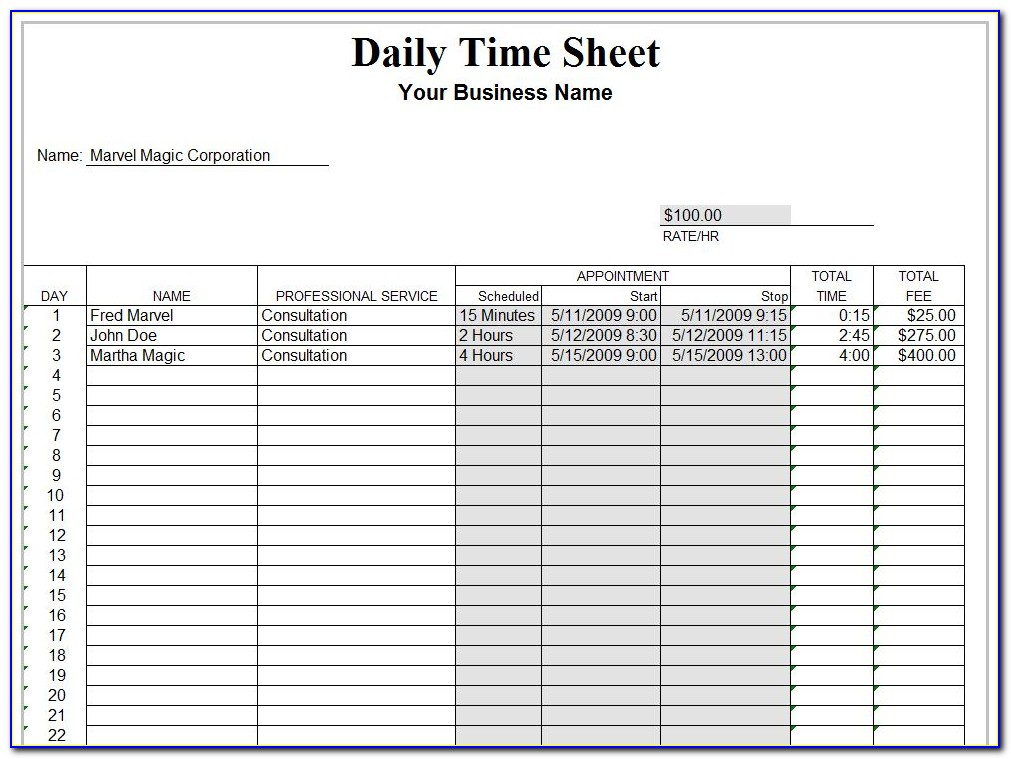 Daily Timesheet Format In Excel