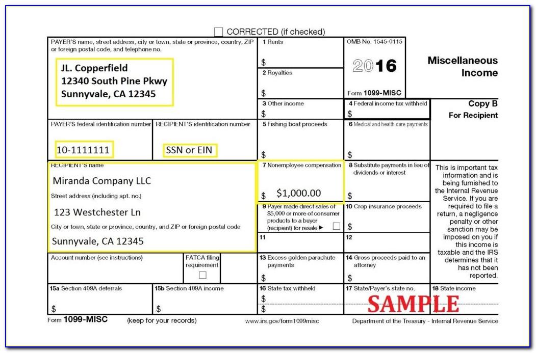 Department Of The Treasury Internal Revenue Service Form 1099