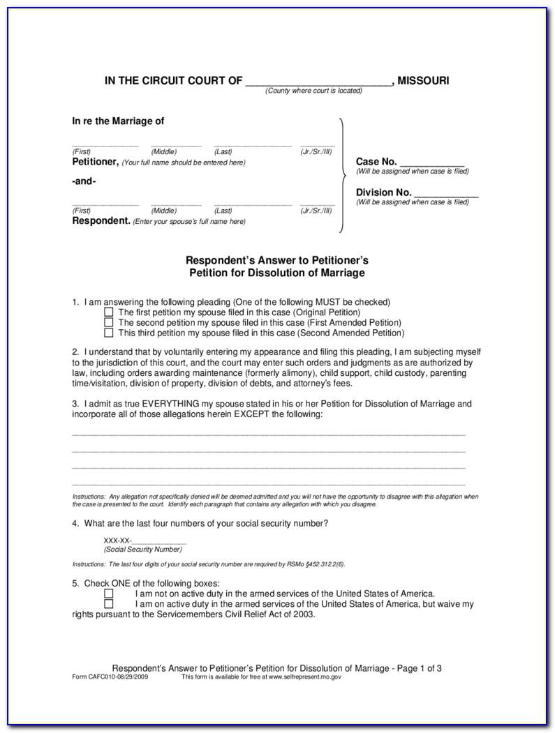 Divorce In Missouri Forms