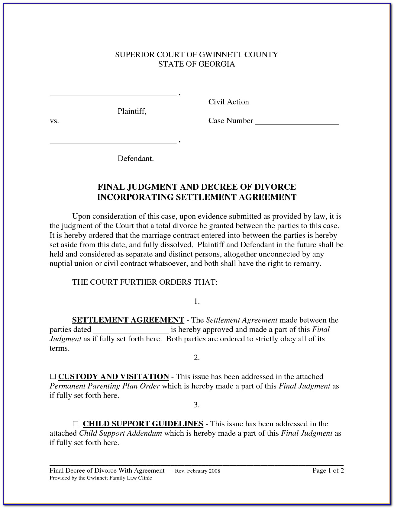 Divorce Settlement Agreement Form Georgia