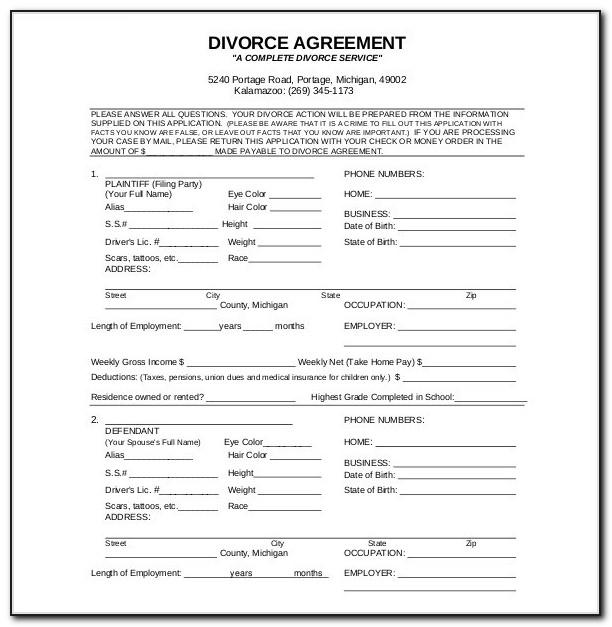 Divorce Settlement Agreement Form Michigan