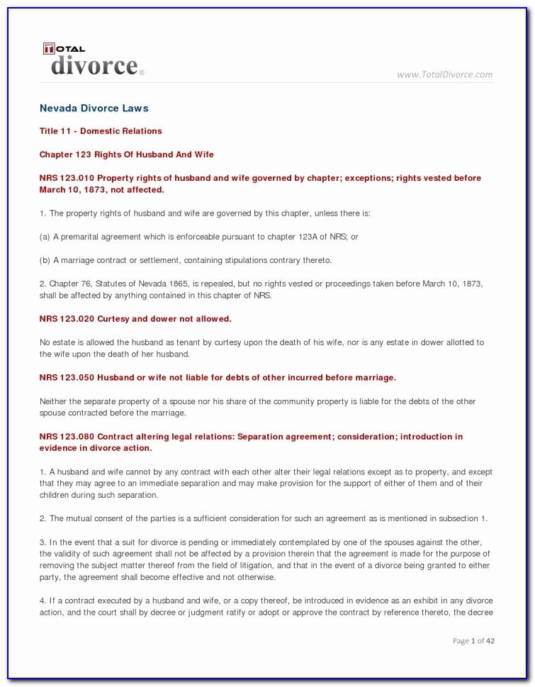 Divorce Settlement Agreement Format