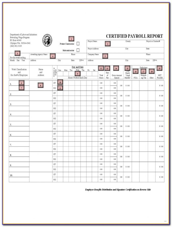 Dol Certified Payroll Form Excel