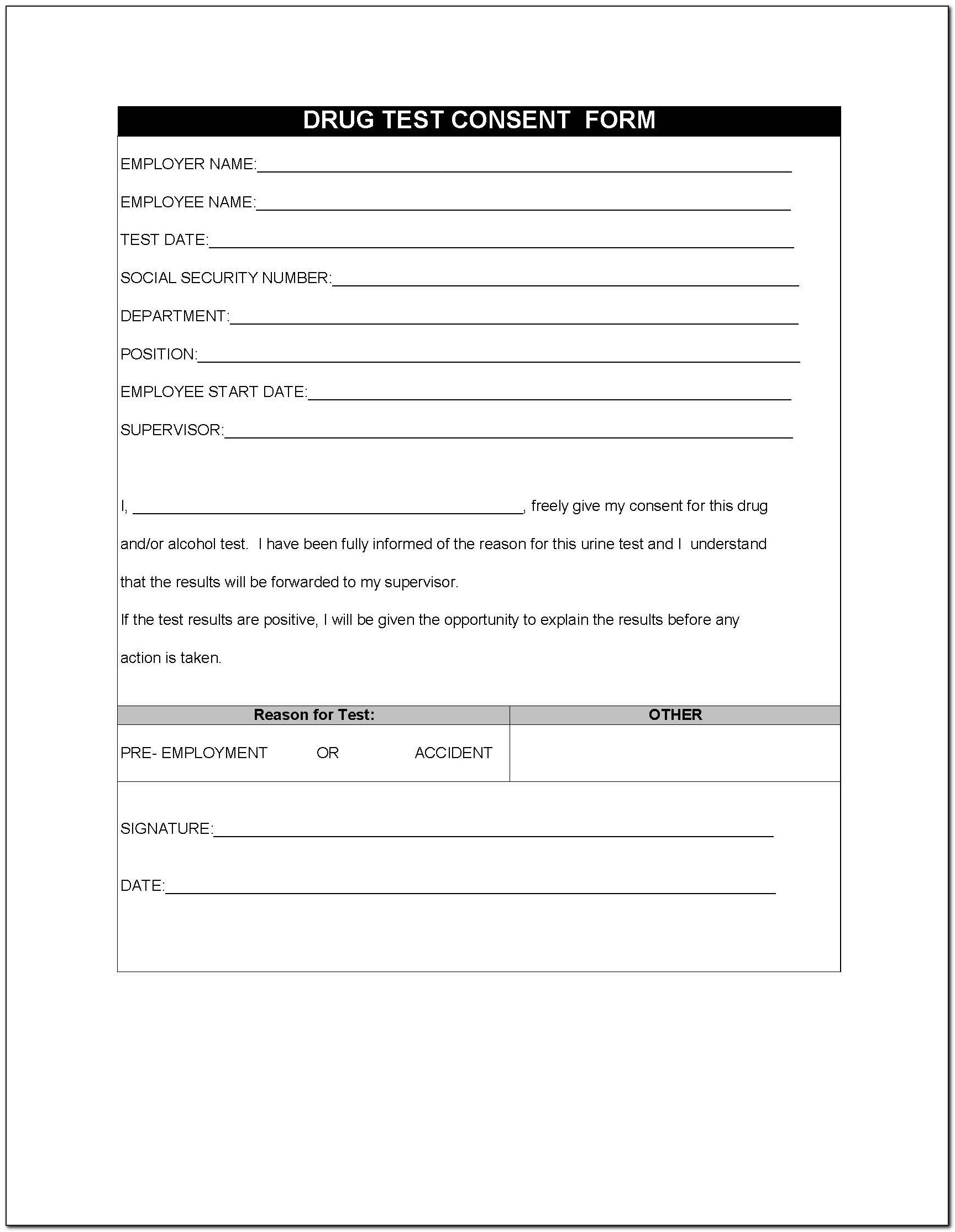 Drug Test Forms For Employees
