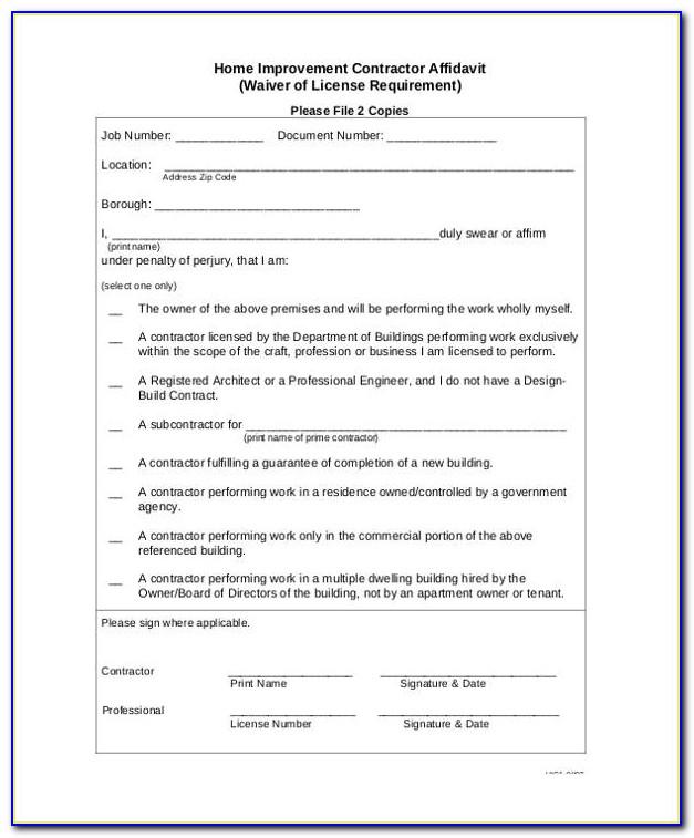 E Verify Subcontractor Affidavit Form