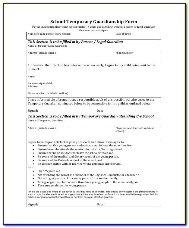 Educational Guardianship Form Indiana