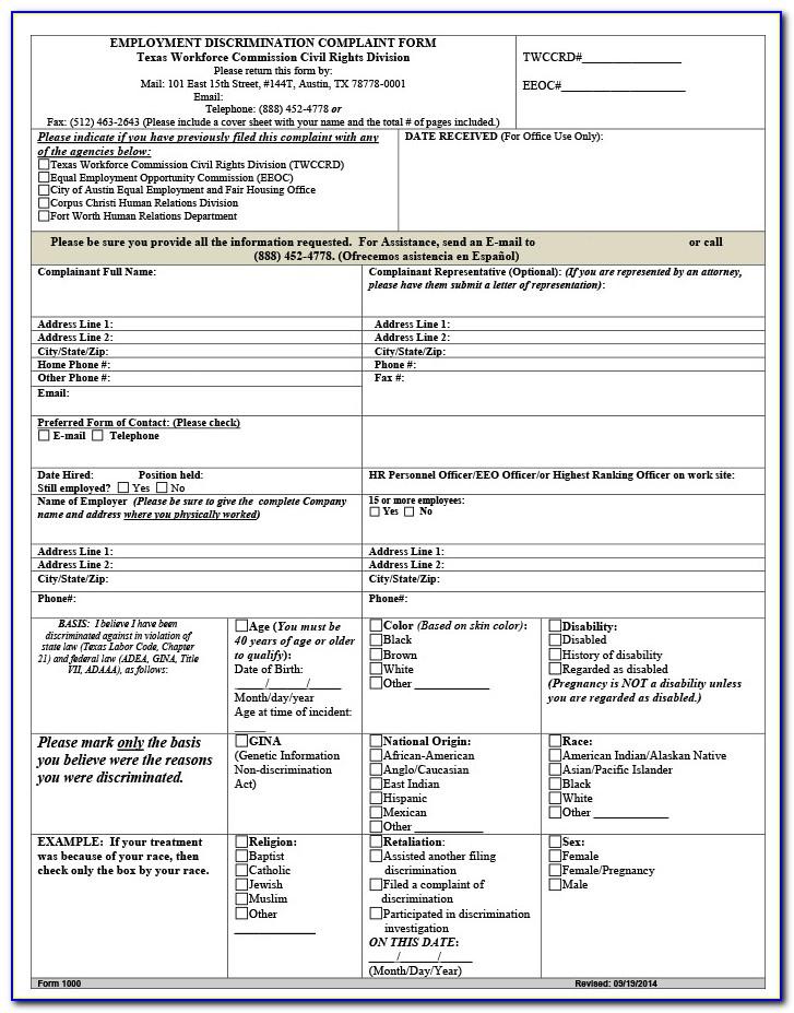 Eeoc Complaint Form California