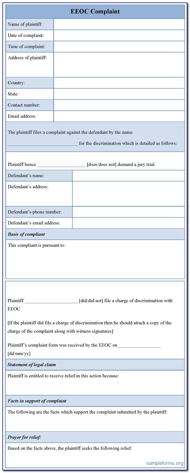 Eeoc Complaint Form Download