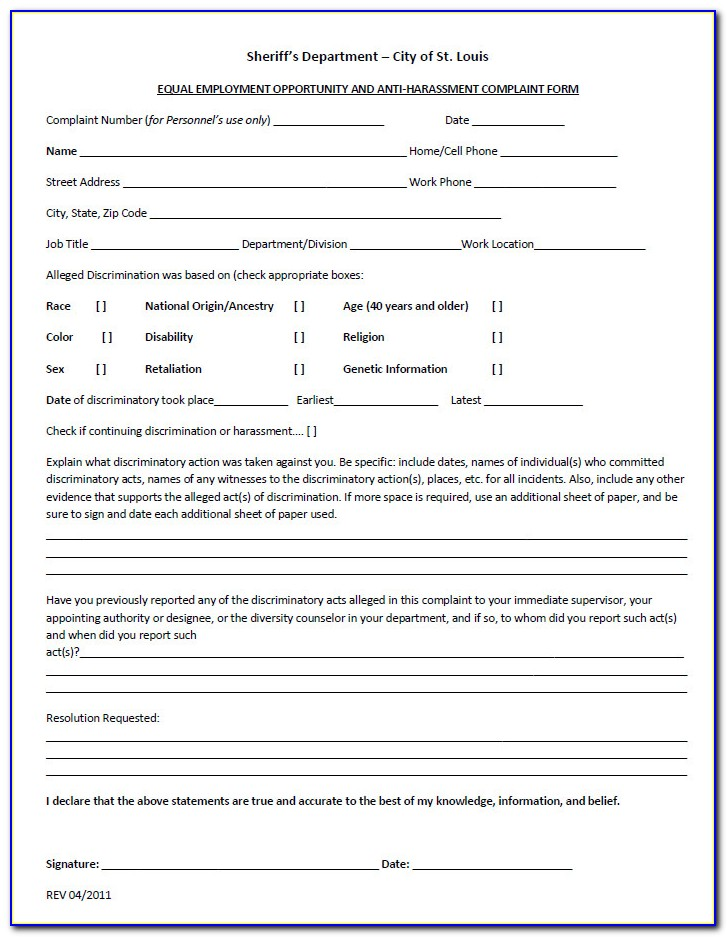 Eeoc Complaint Form Printable