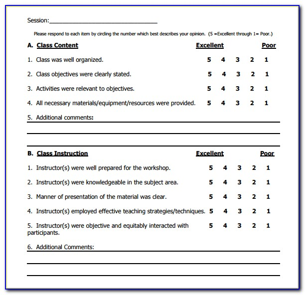 Examples Of Course Evaluation Forms