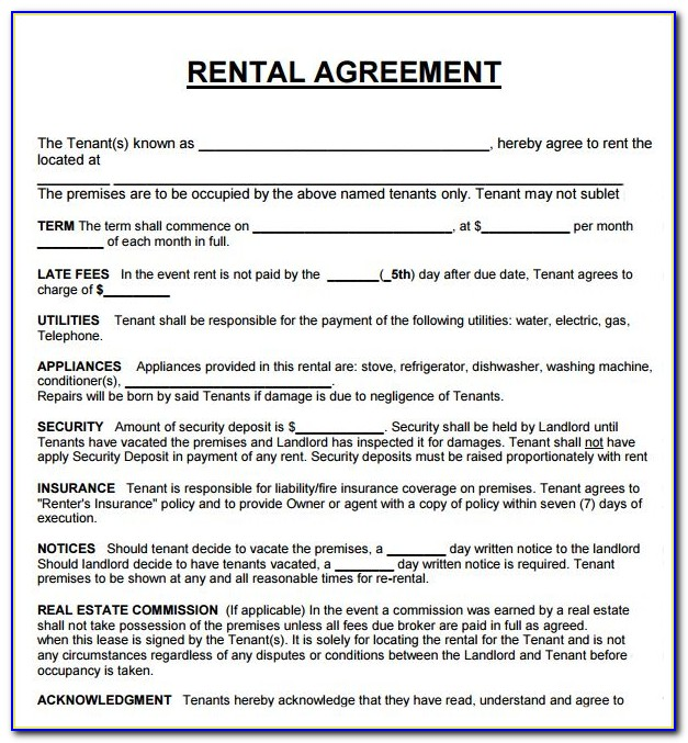 Examples Of Lease Agreement Form