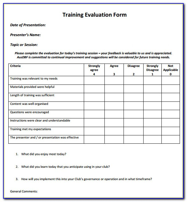 Examples Of Training Course Evaluation Forms