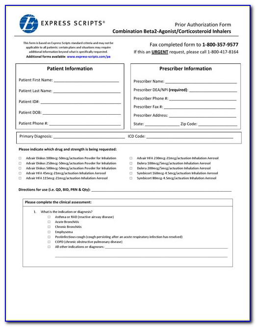 Express Scripts Prior Authorization Form Medicare Part D