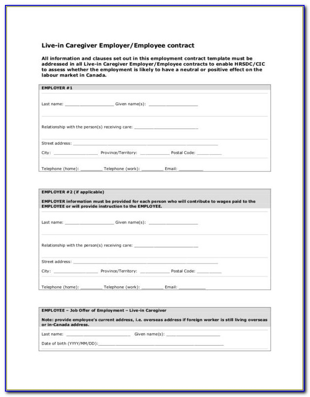 Family Caregiver Contract Example
