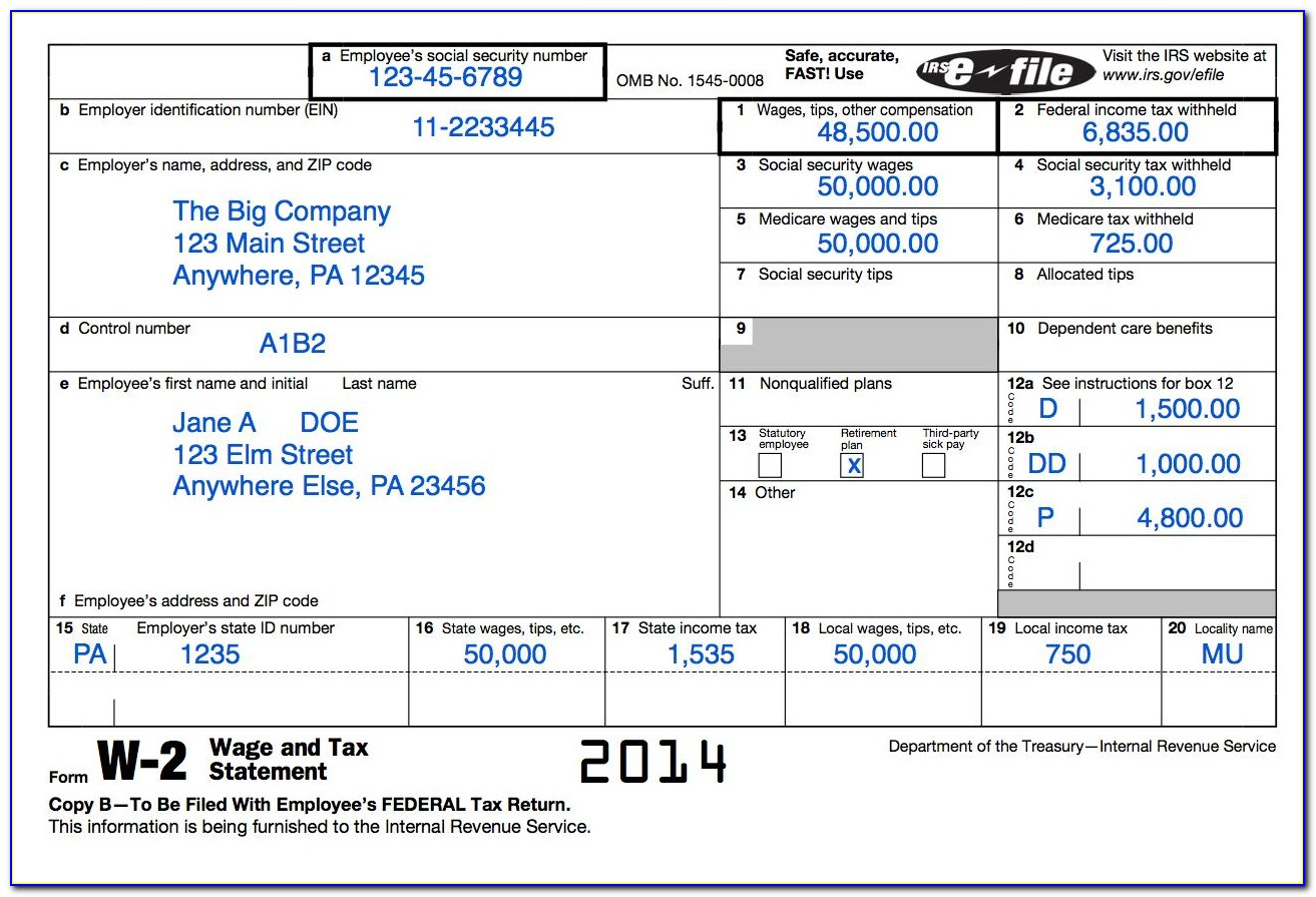 Fillable W2 Form For Employees