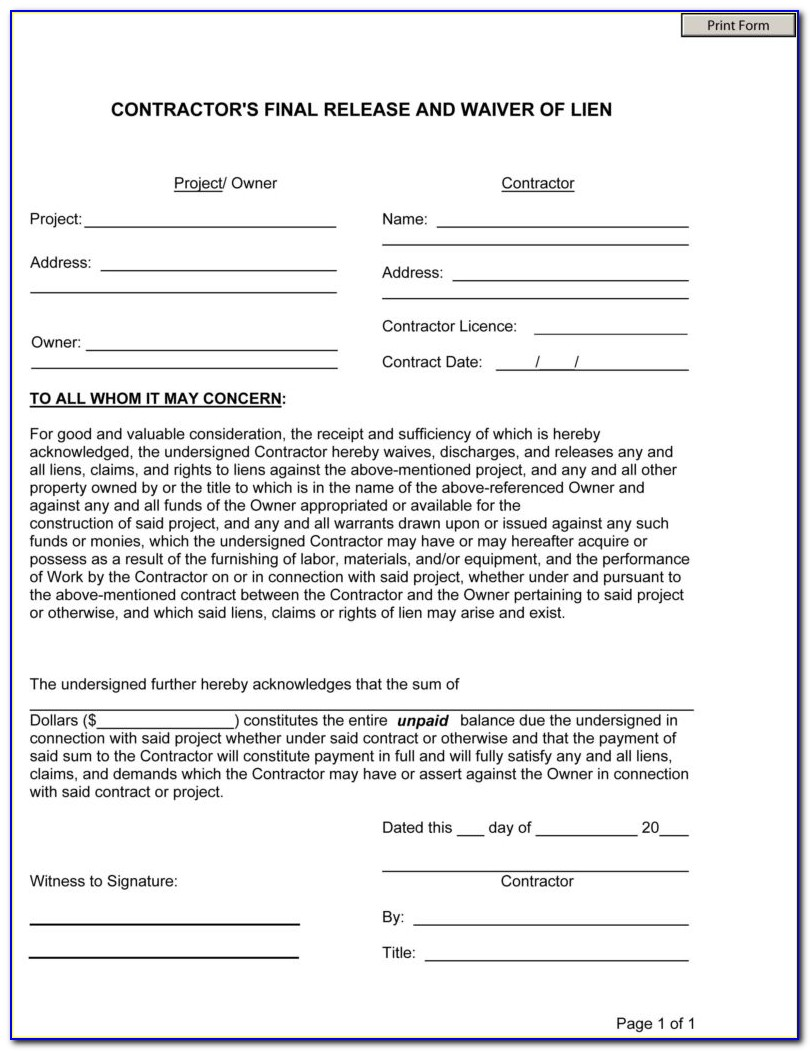 Final Waiver Of Lien And Contractor's Affidavit Form