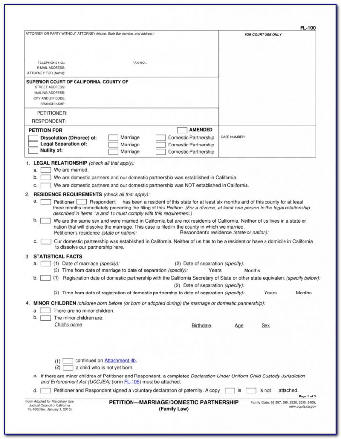 Fl State Divorce Forms