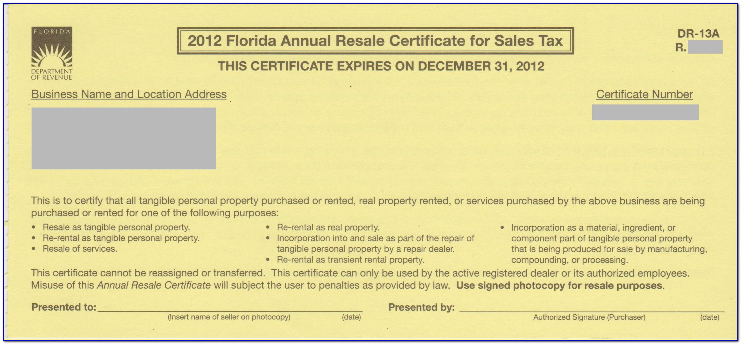 Florida Annual Resale Certificate Form Dr 13