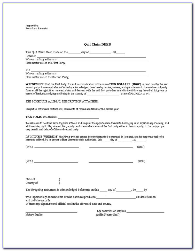 Florida Quitclaim Deed Form