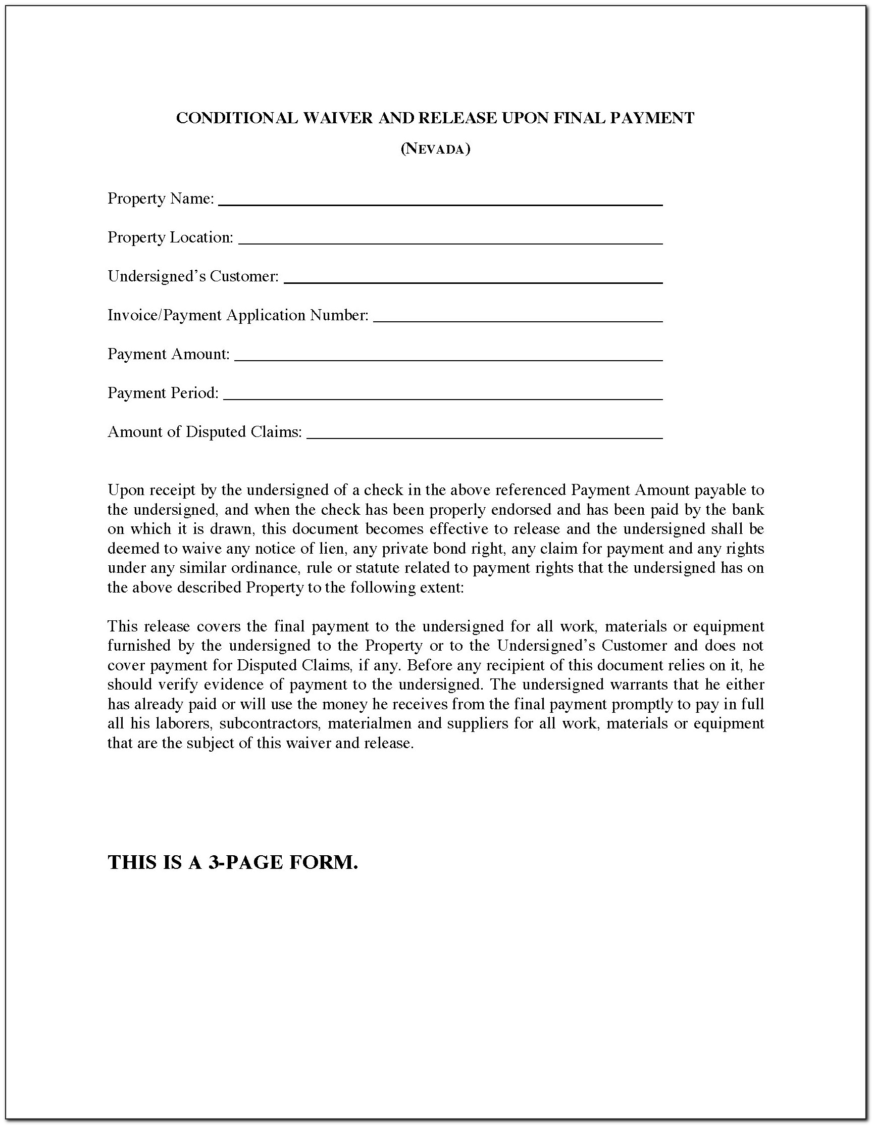 Florida Waiver And Release Of Lien Upon Final Payment Form