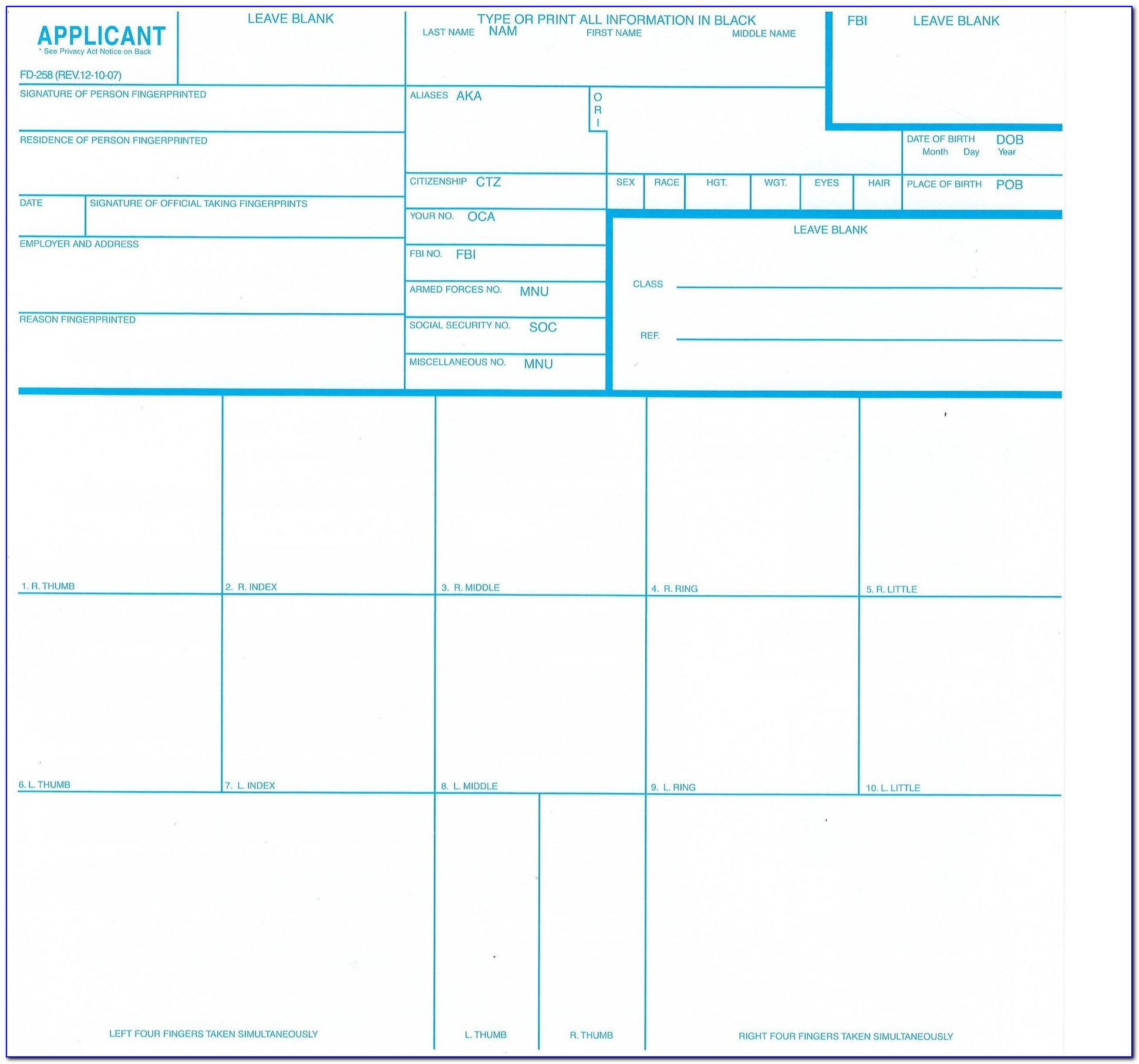 Form Fd 258 Fingerprint Card