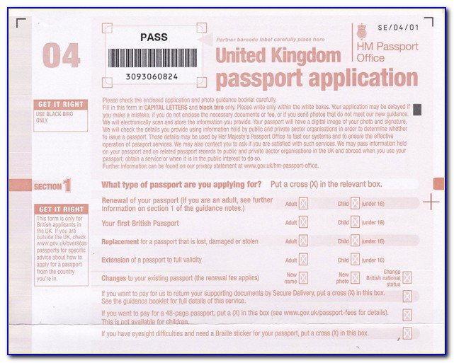 Form For Passport Renewal Canada