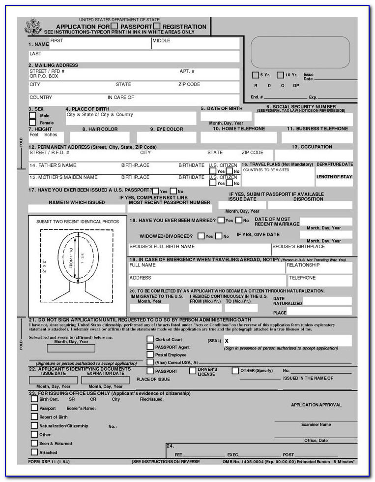 Form For Renewal Passport