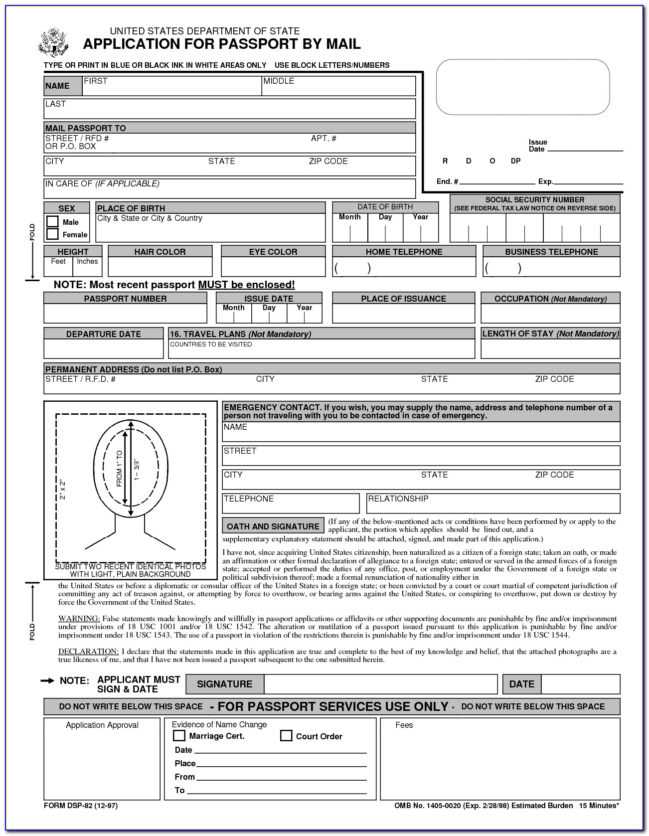Form For Renewing Passport In Person