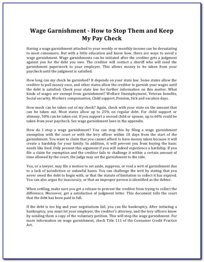 Form To Stop Wage Garnishment
