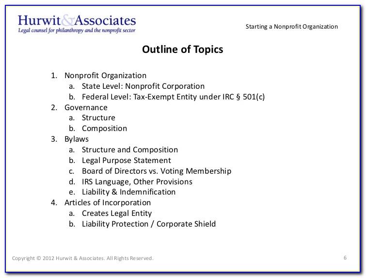 Forms To Start A Nonprofit Organization
