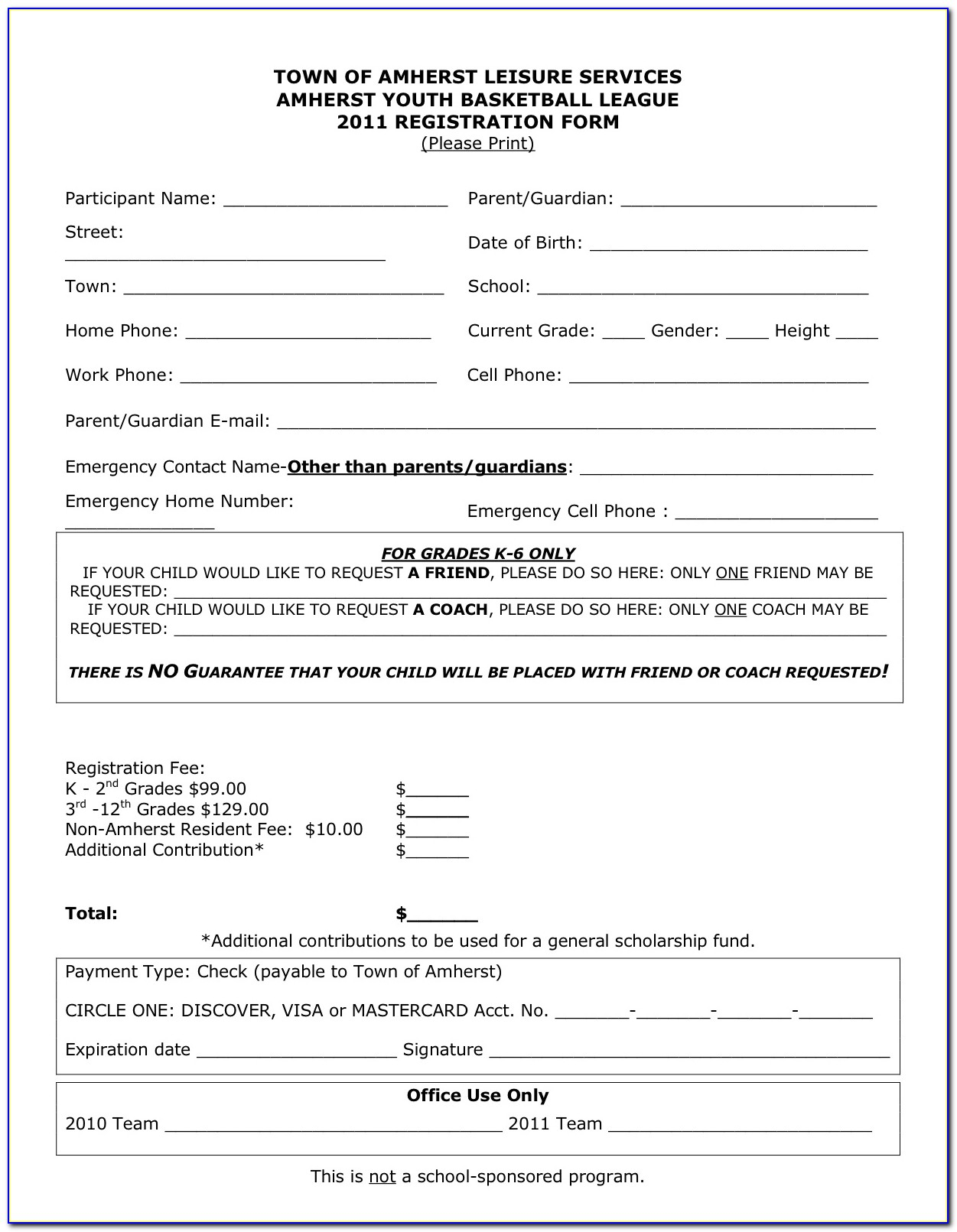 Free Basketball Registration Form Template