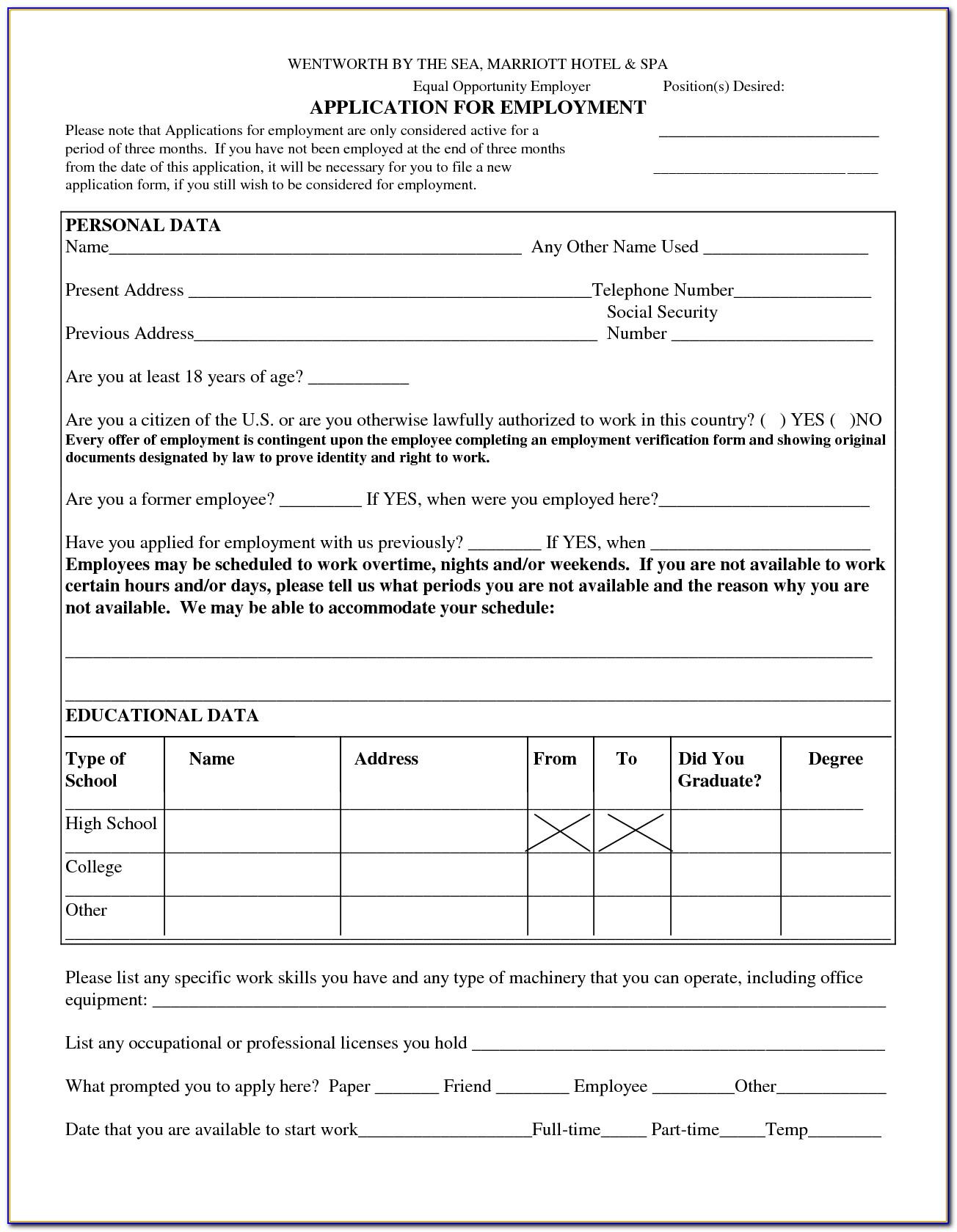 Free Blank Employment Application Form Pdf