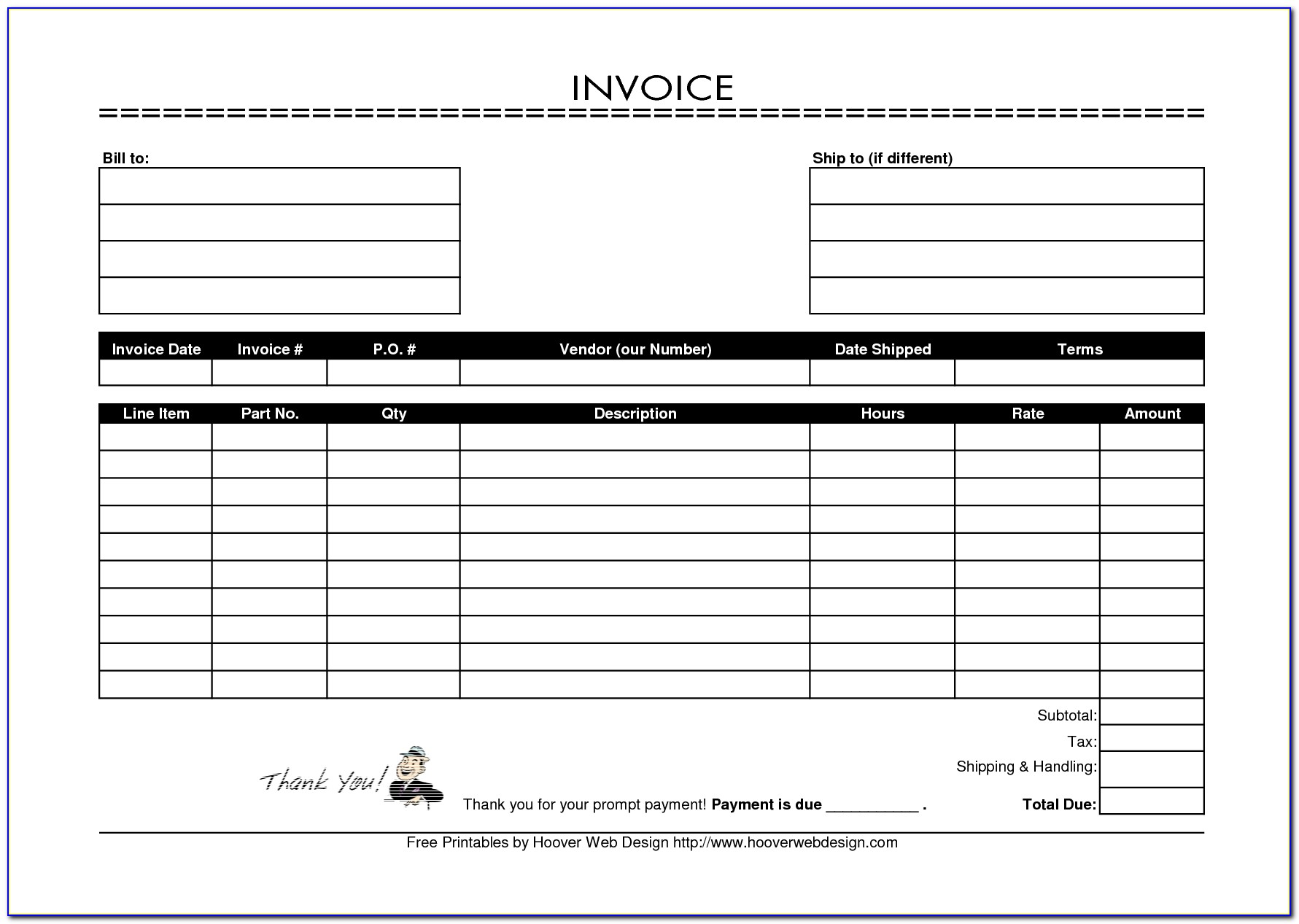 Free Printable Invoice Template 9 Examples Of Printable Invoice Template And Steps To Create 1754 X 1240