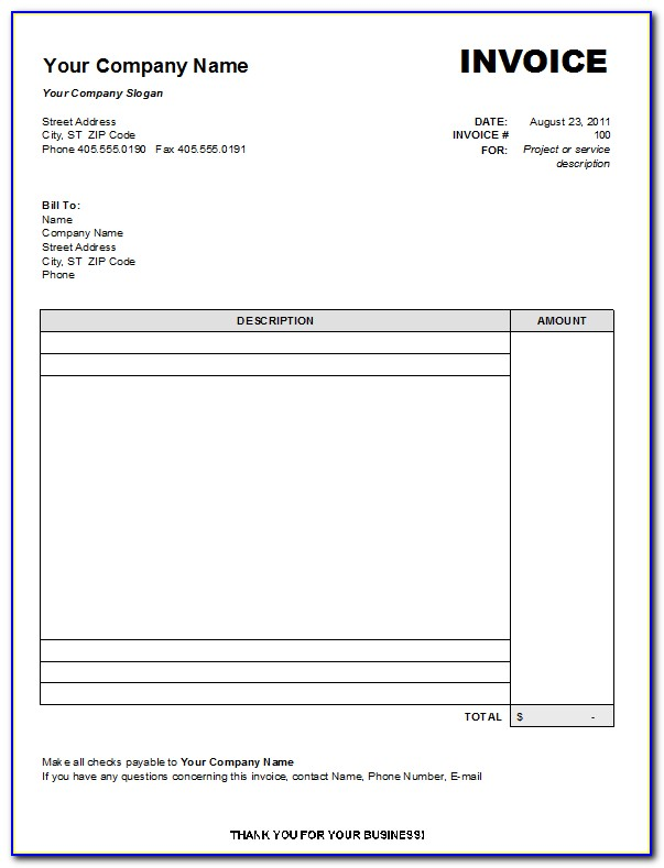 Free Blank Invoice Form