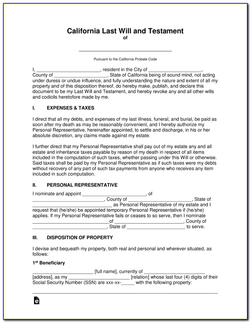 Free California Last Will And Testament Form