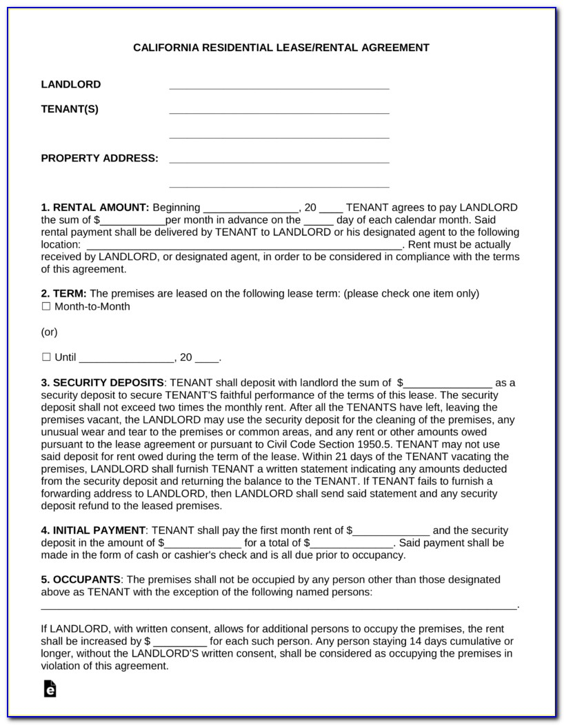 Free California Lease Agreement Form Pdf