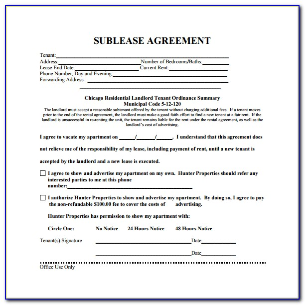 Free Commercial Sublease Agreement Form