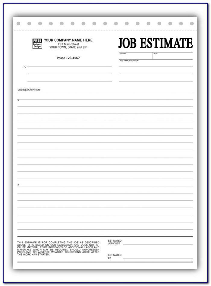 Free Construction Estimate Forms Templates