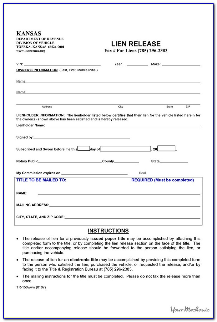 Free Property Lien Release Form Form Resume Examples