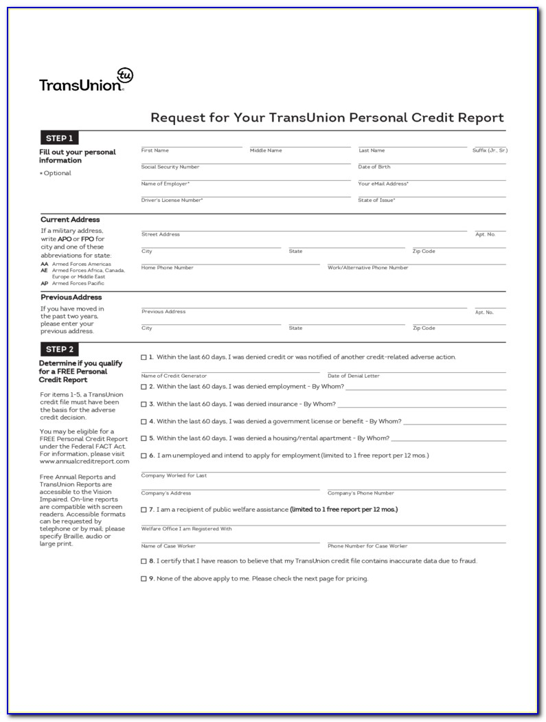Free Credit Report Dispute Forms