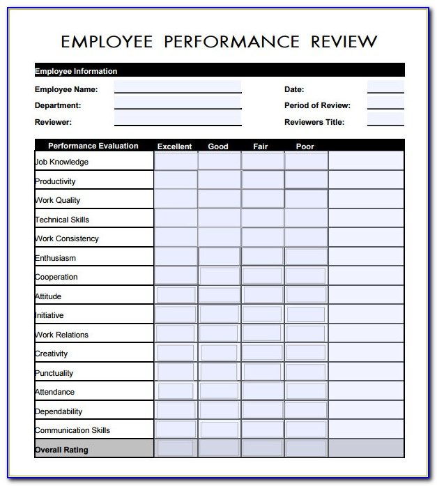 Free Employee Self Evaluation Form Template