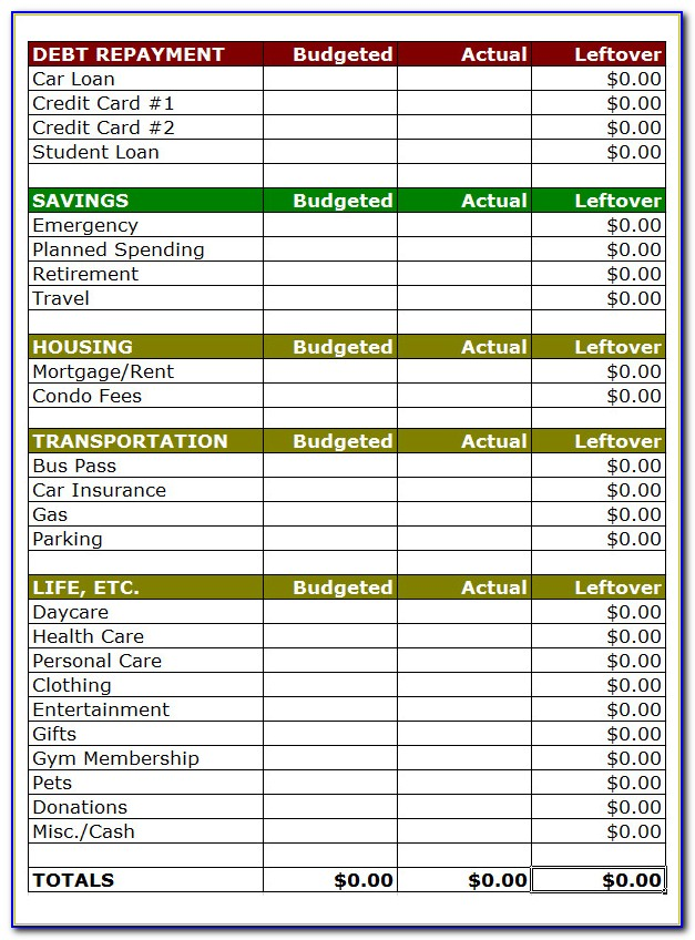 Free Excel Budget Calendar Template