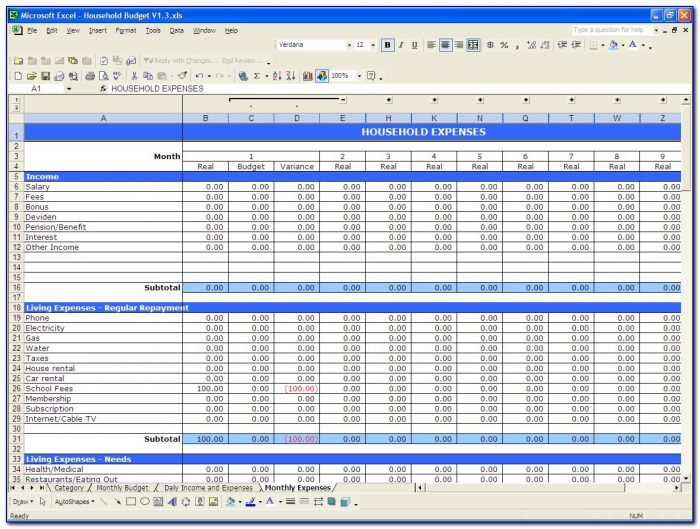 Free Excel Budget Template Monthly