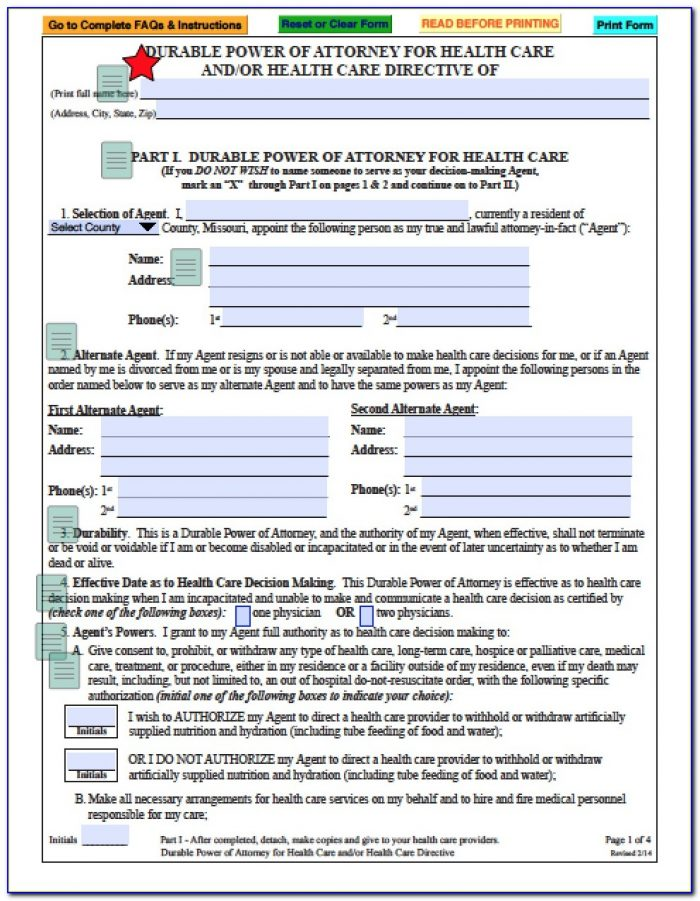 Free Financial Durable Power Of Attorney Form Missouri