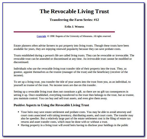 Free Florida Revocable Trust Form