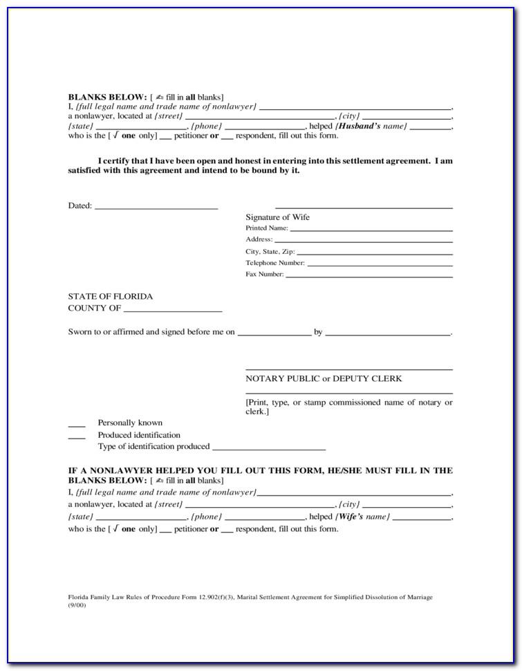 Free Florida Separation Agreement Form